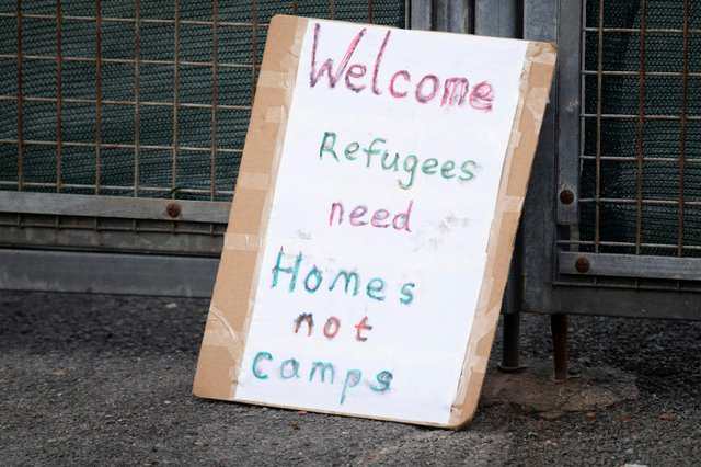 A sign at the entrance to Penally Training Camp on March 20, 2021 in Penally, Wales. Penally Army Training camp, a military base just outside Tenby in Pembrokeshire, was used to house up to 250 asylum seekers from September last year. p (Photo by Matthew Horwood/Getty Images)