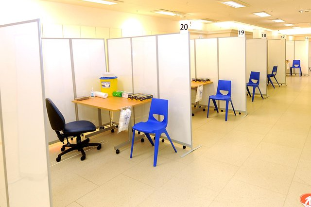 The vaccination booths in the new centre in the former M&S in Kirkcaldy High Street (Pic:  Fife Photo Agency)