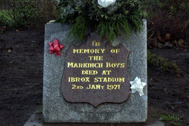 Memorial to Rangers fans from Markinch  who died in the Ibrox Disaster.