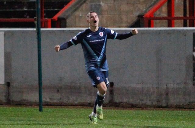 Dylan Tait celebrates scoring against Stirling (Pic: Scott Louden)