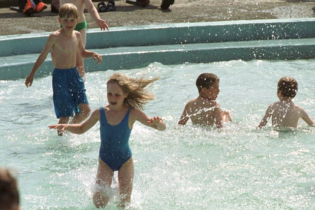 A smashing day in the summer of 1999 - and the paddling pool was a busy place!