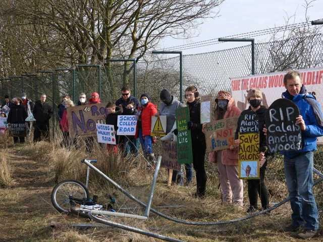 Campaigners from the Save the Calaismuir Woods group protesting tree felling at the Axis Point site near Halbeath Interchange, Dunfermline. (Pic: Save the Calaismuir Woods)
