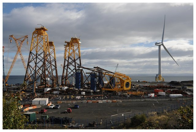 Fife Renewables Innovation Centre, Ajax Way, Methil, Leven Pictured from platform Wellesley road looking over to Bifab and the  wind turbine (Pic: George McLuskie)