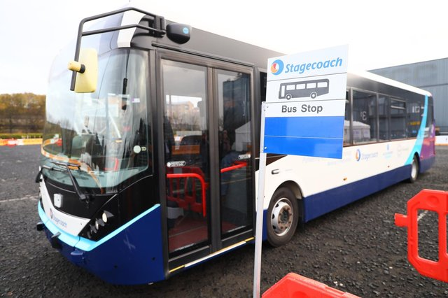 The first of Stagecoach's autonomous buses making its debut at the SEC in Glasgow in 2019
