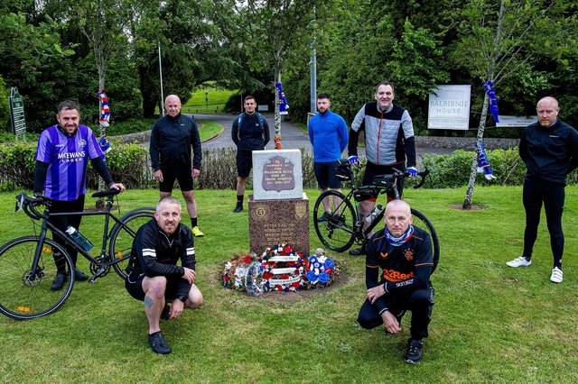 Eight Rangers fans set off from the Markinch Ibrox Disaster memorial on a fundraising cycle (Pic: Lisa Ferguson)