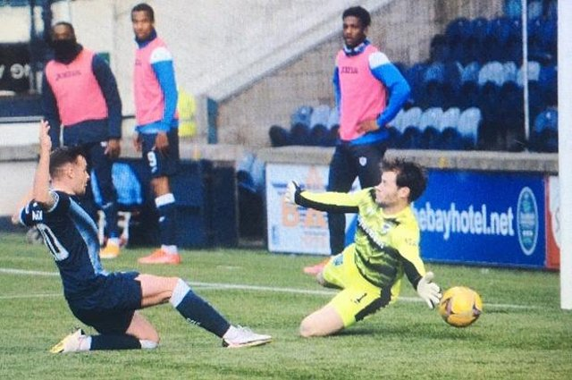 Lewis Vaughan scores the first of his two goals to put Raith Rovers 2-1 ahead against Dunfermline on Tuesday night at Stark's Park.