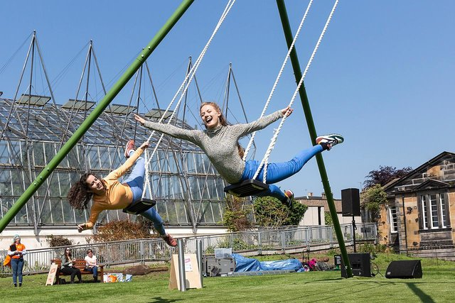 All or Nothing Aerial Dance Theatre bring The Swings to St Andrews as part of a summer of outdoor theatre in the town.  (Pic: Suzanne Heffron)