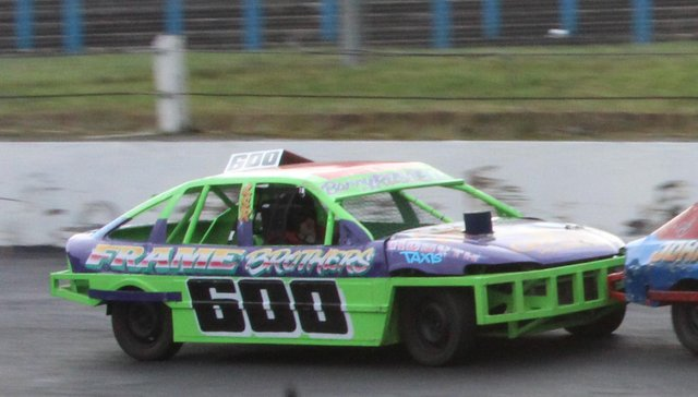Barry Russell racing in his new car