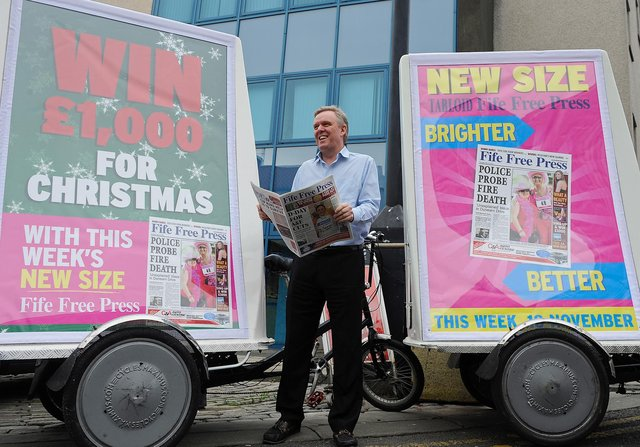 4710030 SSFF press bikes Fife Free Press Editor Allan Crow with the launch bicycles on the streets of Kirkcaldy