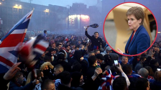 Nicola Sturgeon condemns crowds of fans gathering in Glasgow following Rangers' victory (Photo: PA).