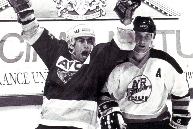 Richard Laplante scores against Ayr Raiders in the winner-takes all promotion play-off at the Summit Centre, Glasgow