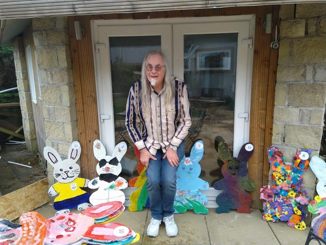 Michael Mowat (Men's Shed) teamed up with children from South Parks Primary to create the Easter bunnies.