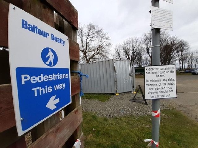 Signs are in place ahead of work starting on Dalgety Bay beach clean up
