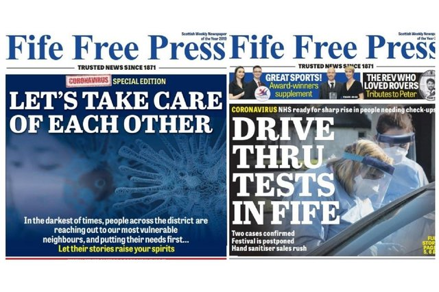 How the Fife Free Press reported the first concerns over COVID in March 2020