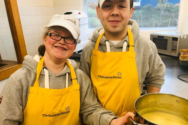 Fife College student Chloe Hutchison and former student Innis Carnegie at The Sunshine Kitchen.