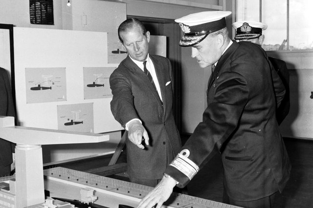 Rear-Admiral Ridley explained submarine reactors to  Prince Philip, Duke of Edinburgh, when he visited Rosyth Dockyard in October 1967