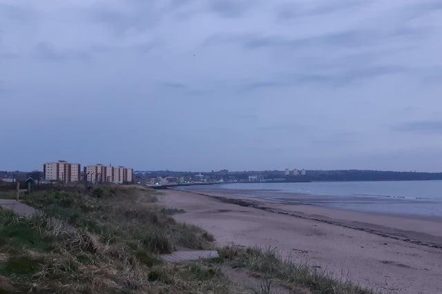 Looking across Kirkcaldy waterfront from Seafield beach