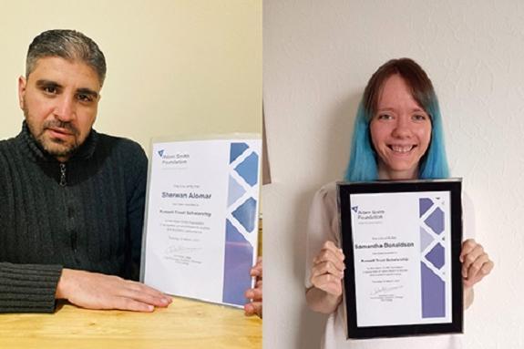 Scholarship winners Sherwan Alomar and Samantha Donaldson
